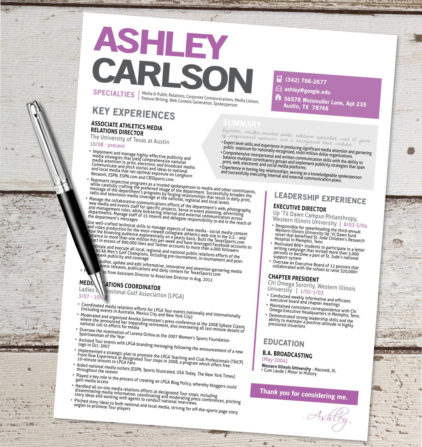 the ashley resume template design graphic by