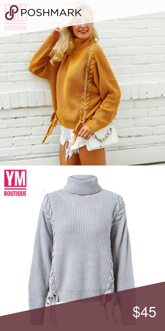 4c066be3ff5cf ⚡Reserved⚡Oversized laced up turtleneck sweater Casual and cut sweater.  Features laces