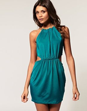 chain neck cut out dress from asos