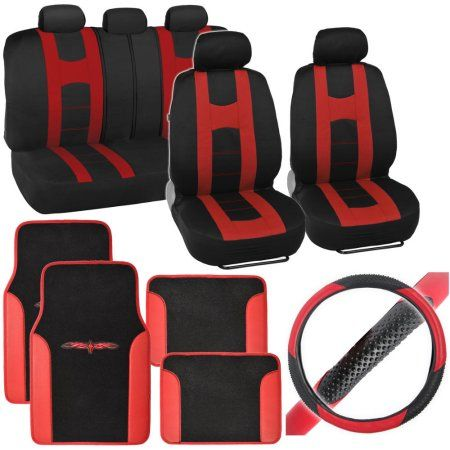 BDK Rome Sport Car Seat Covers with Floor Mats and Steering Wheel Cover Full Set, Red
