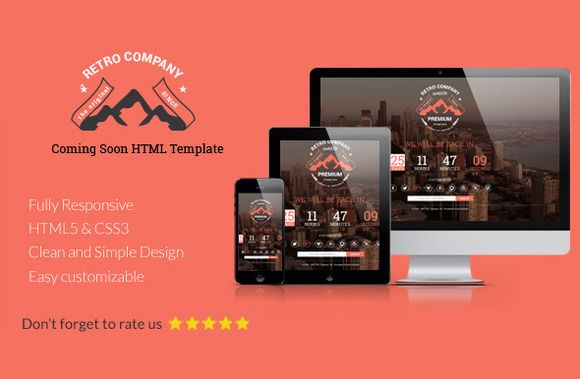 Retro Company Coming Soon Template Css Templates Templates Html Css