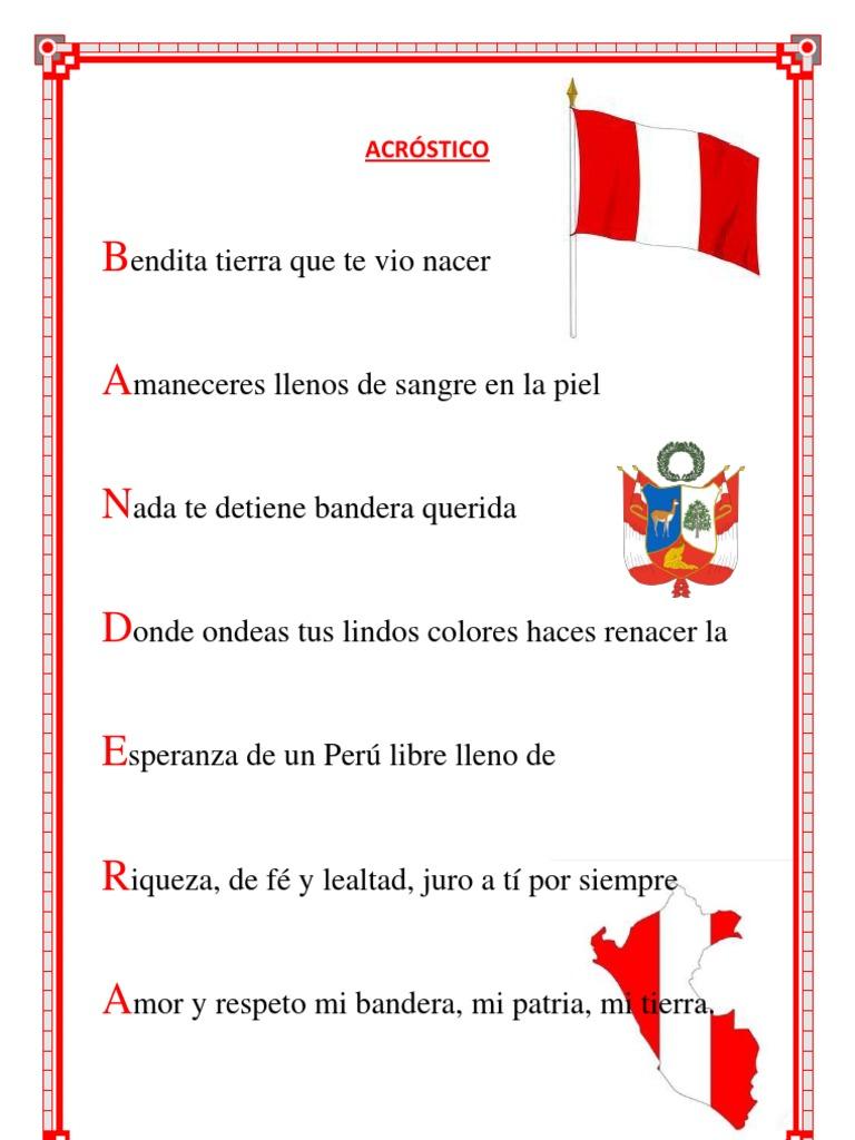 Poema Por El Dia Del Campesino Para Niños De Inicial Acrosticos De Bandera Del Peru Buscar Con Google Acrosticos