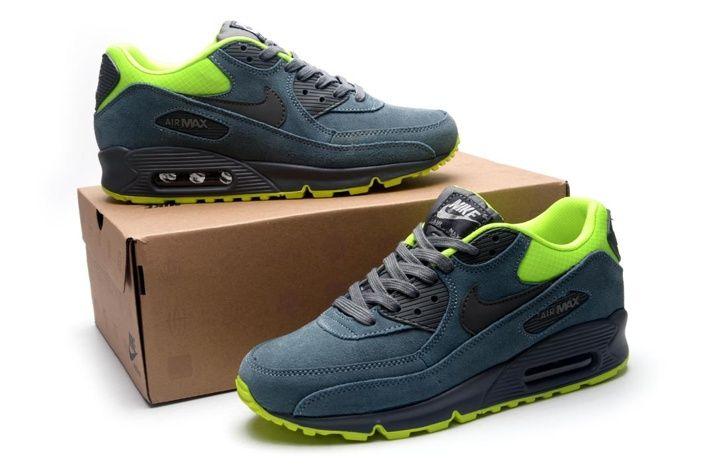 check-out cc076 b3de9 Pas Cher Nike Air Max 90 Vert Et Jaune Noir Chaussures ...