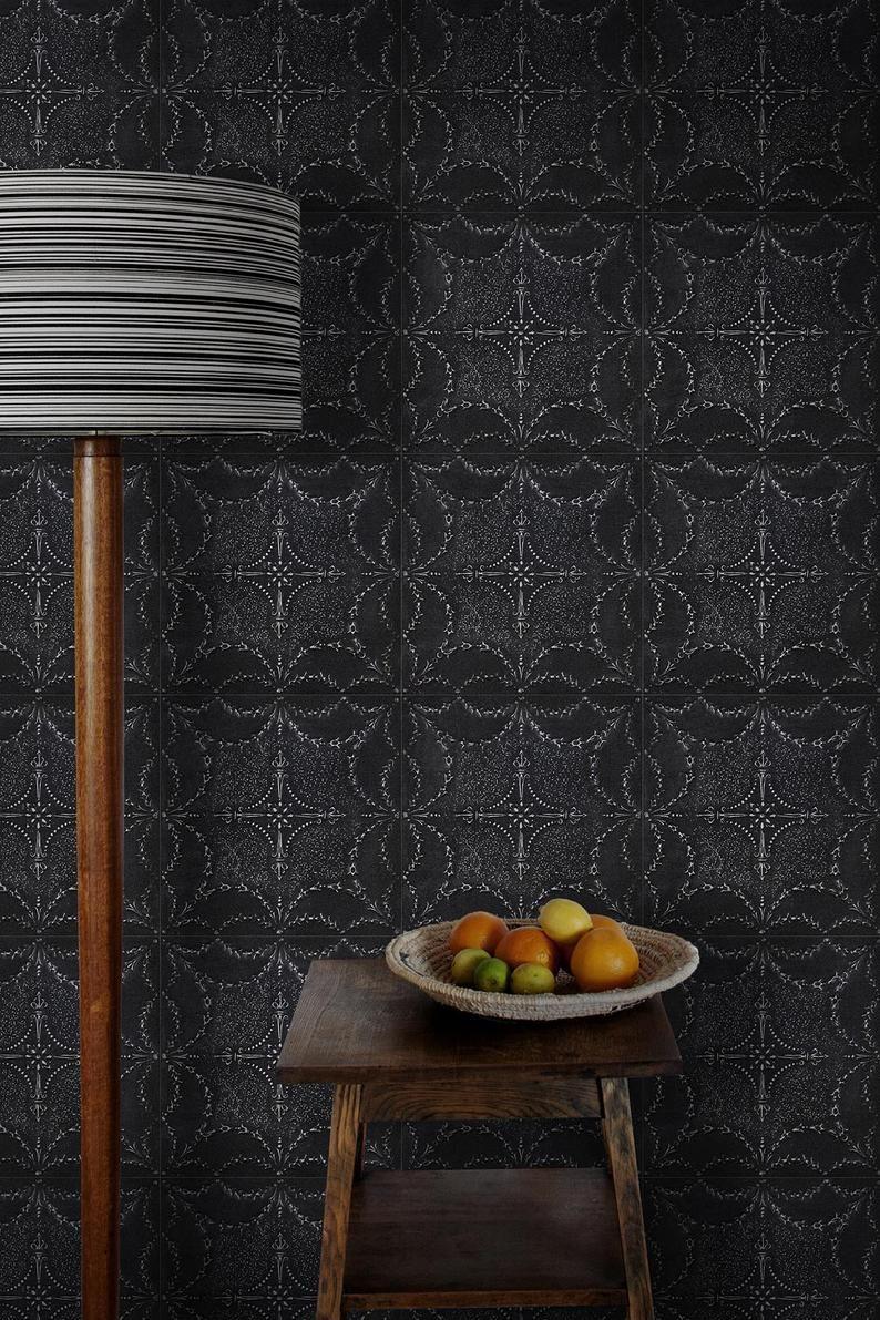 Black Victorian Tin Tile Wallpaper Dark Grey Vintage French Etsy In 2020 Tin Tiles Tile Wallpaper Dark Tile