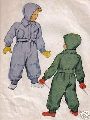 1944 Vintage Pattern Snowsuit Cap Ski Snow Suit Size 2