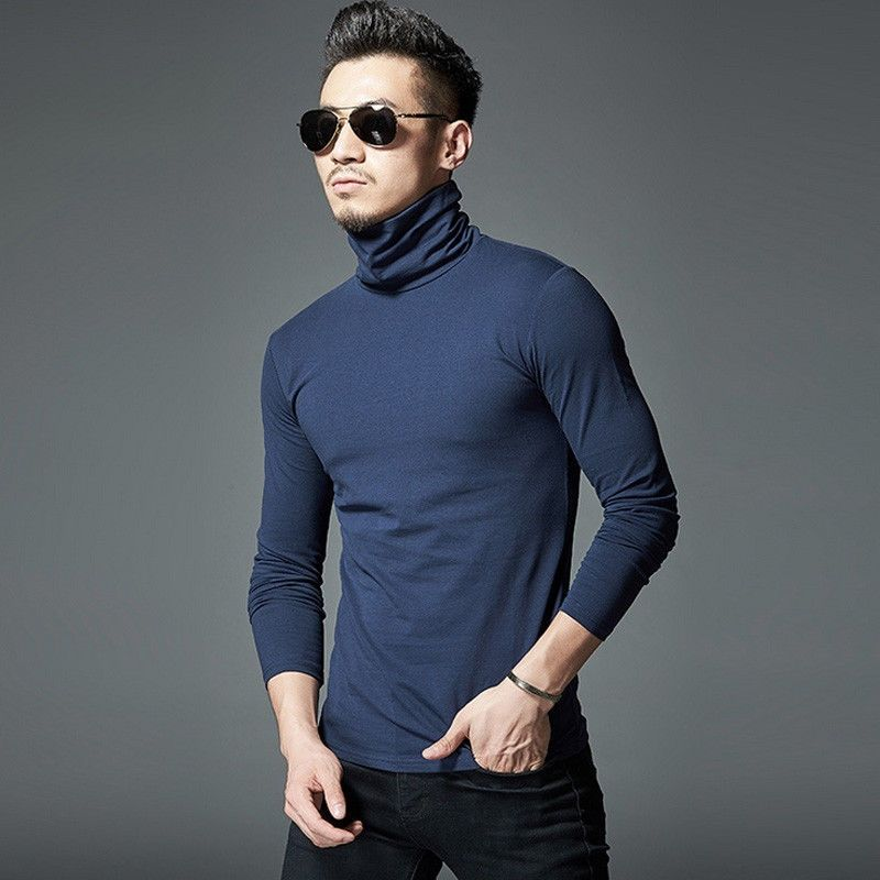 Casual Autumn Men s Slim Fit V Neck Long Sleeve Muscle Tee Turtleneck Warm  Cotton T-shirt Casual Tops 98d52f3059d8