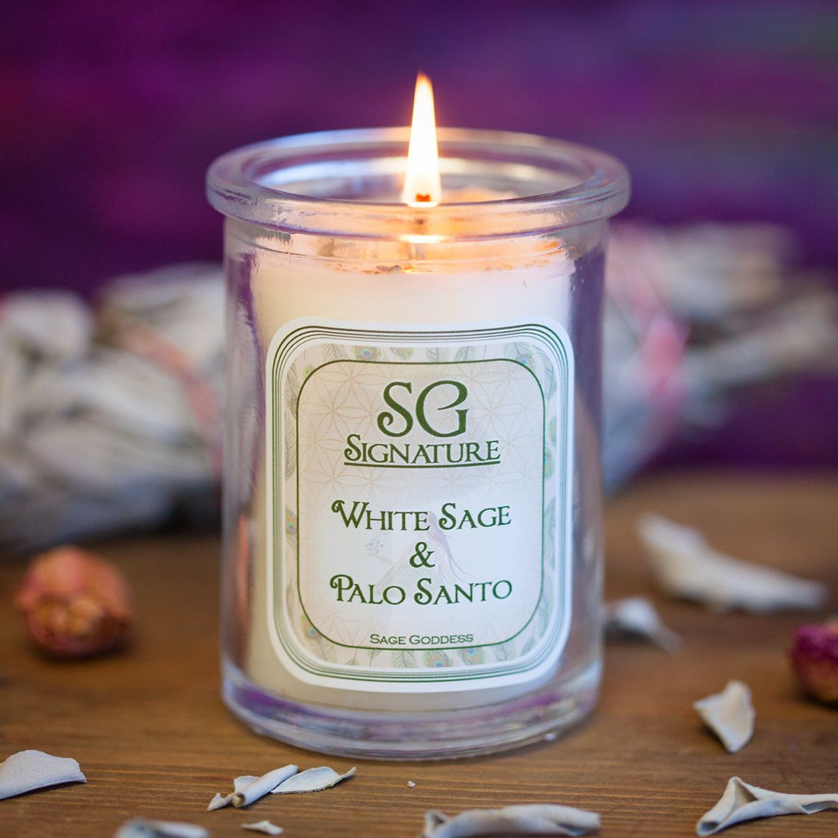 Sg Signature White Sage And Palo Santo Intention Candles For Purification Intention Candles Smudging Hand Poured Candle