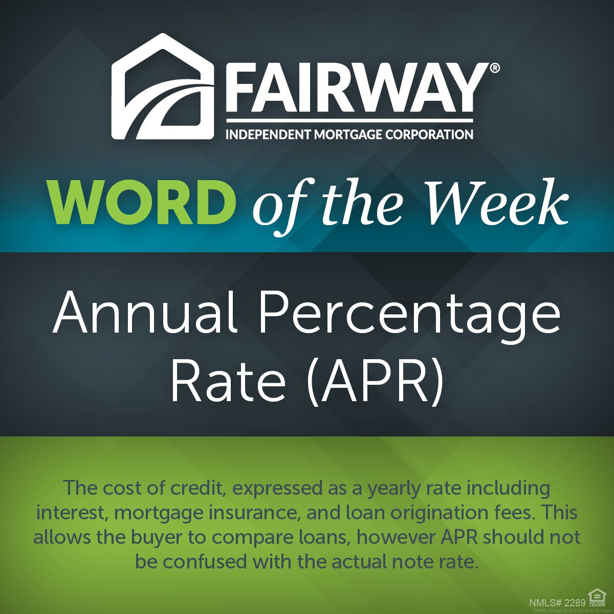 Annual Percentage Rate or APR Fairway Mortgage for Home