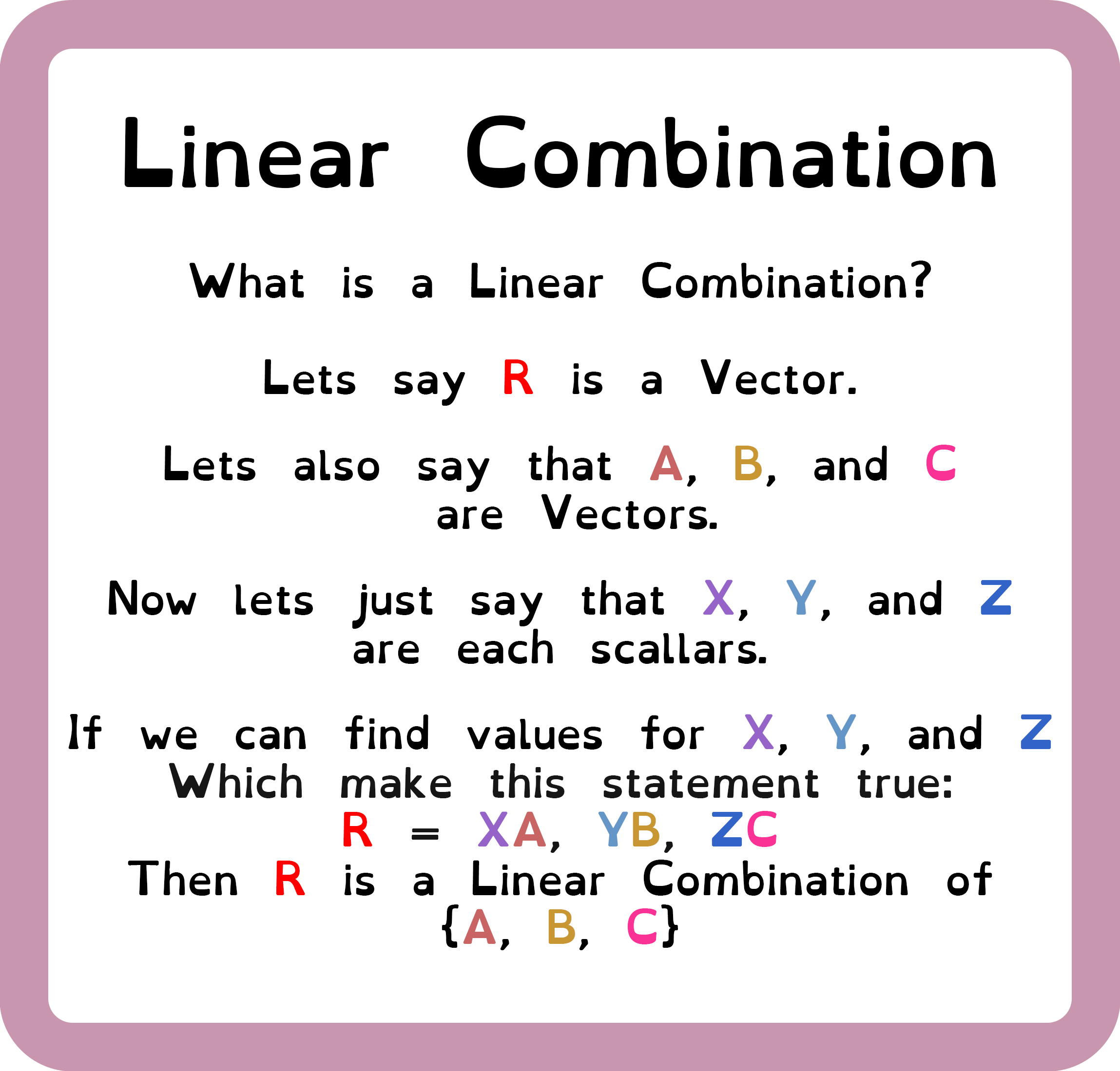 Linear Combination Explanation Math Tricks Education Learning Process [ 2199 x 2298 Pixel ]
