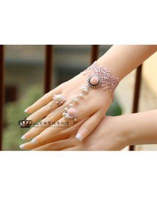 Pink Crown Lace Lolita Wrist Belt