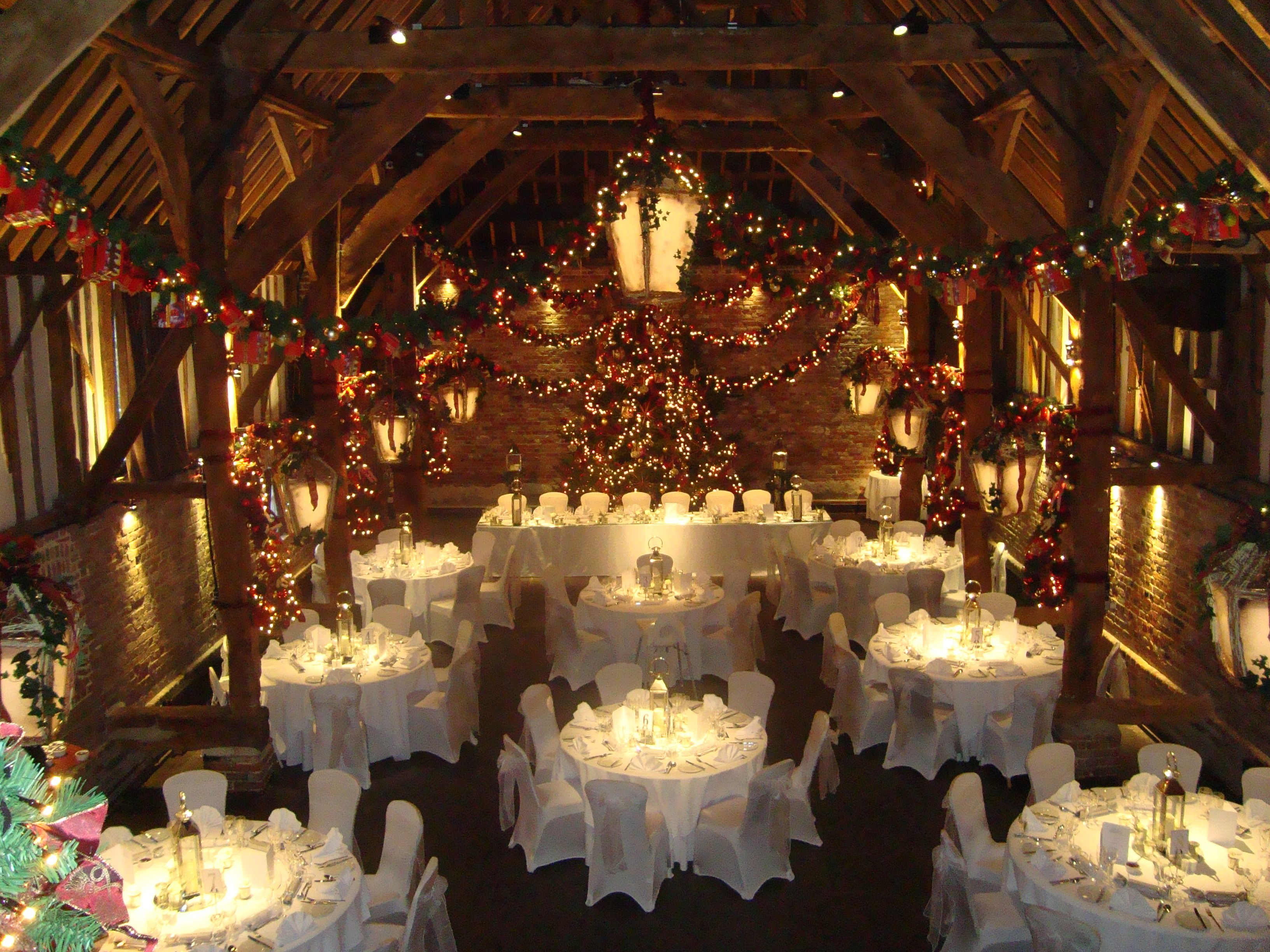 The Tithe Barn Decorated For Christmas Wedding Venue In Kent