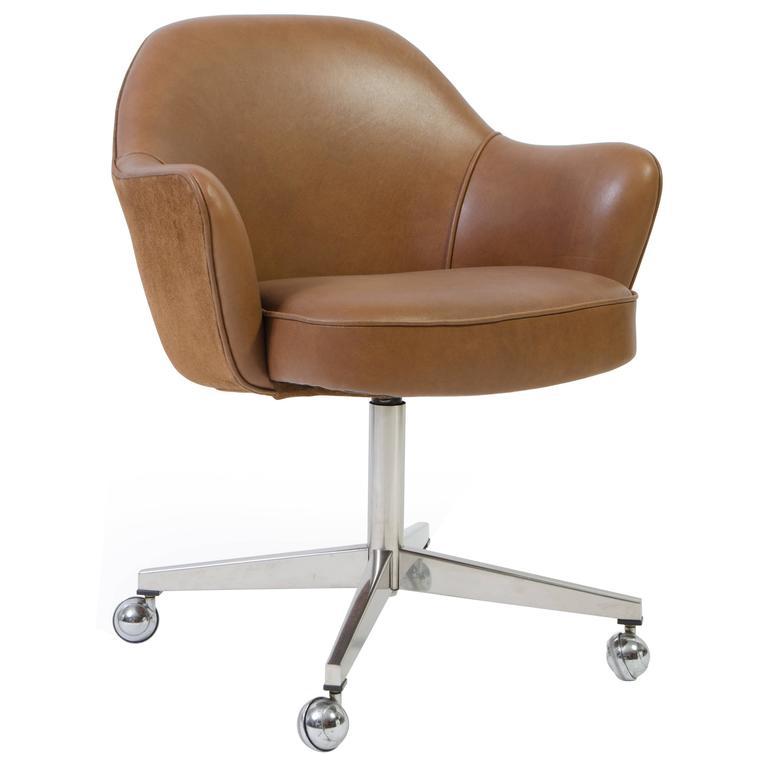 Peachy Saarinen Executive Arm Chair In Saddle Leather Suede Creativecarmelina Interior Chair Design Creativecarmelinacom