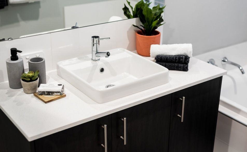 Caesarstone benchtops, semi inset vanity basin and mixer taps are all standard in our Display designs