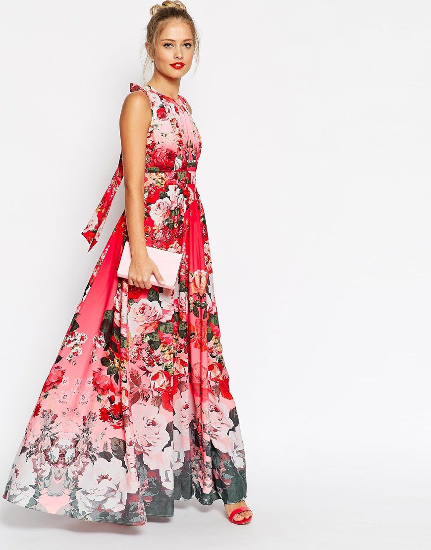 Maxi Dress With Cut Out Front In Red Based Floral - Floral print Asos hhZSmVk