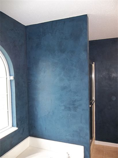 Dark Blue Venetian Plaster Bathroom Walls Bedroom In