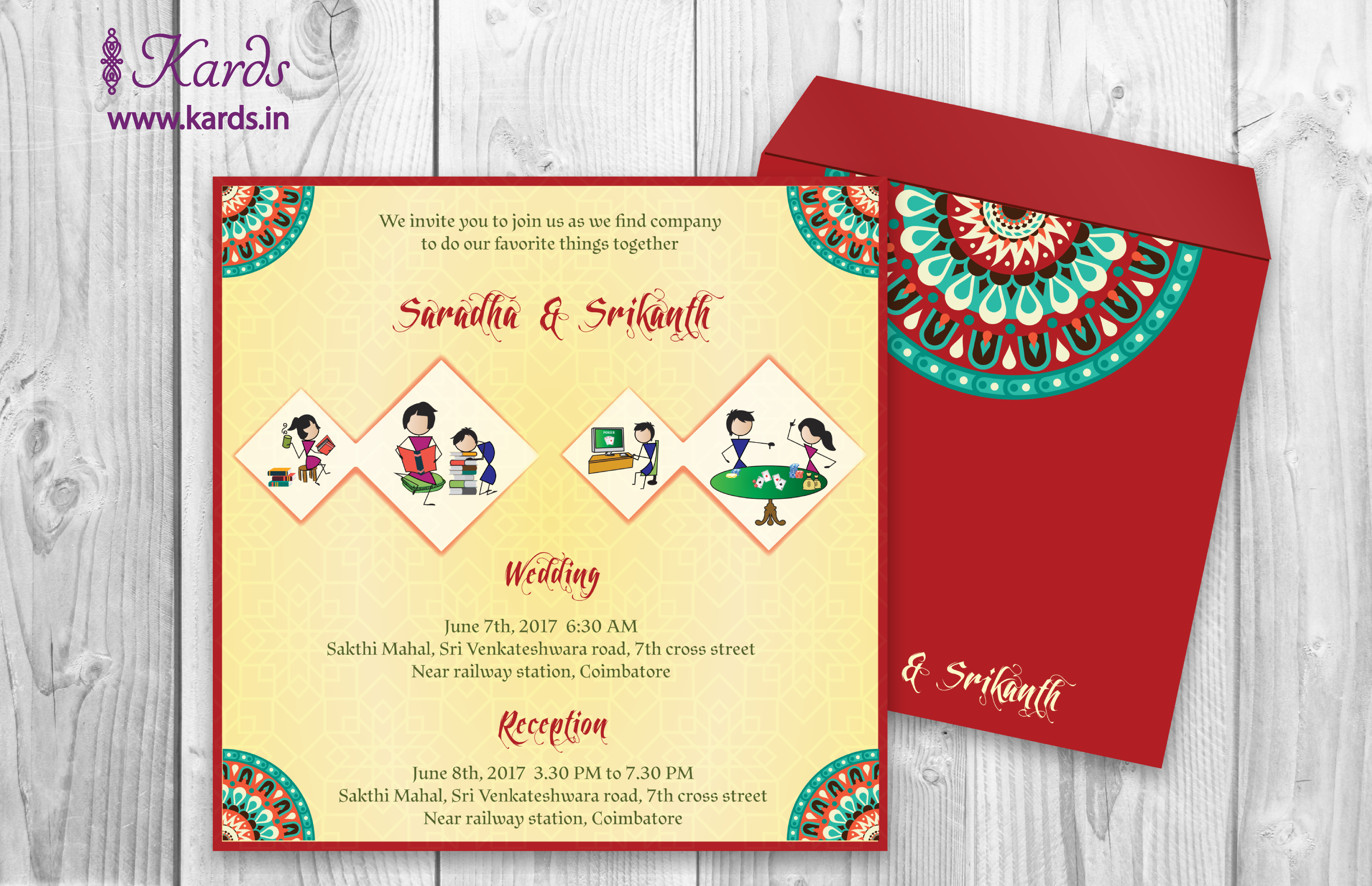 A vibrant Invitation adorned with colorful and traditional Indian ...