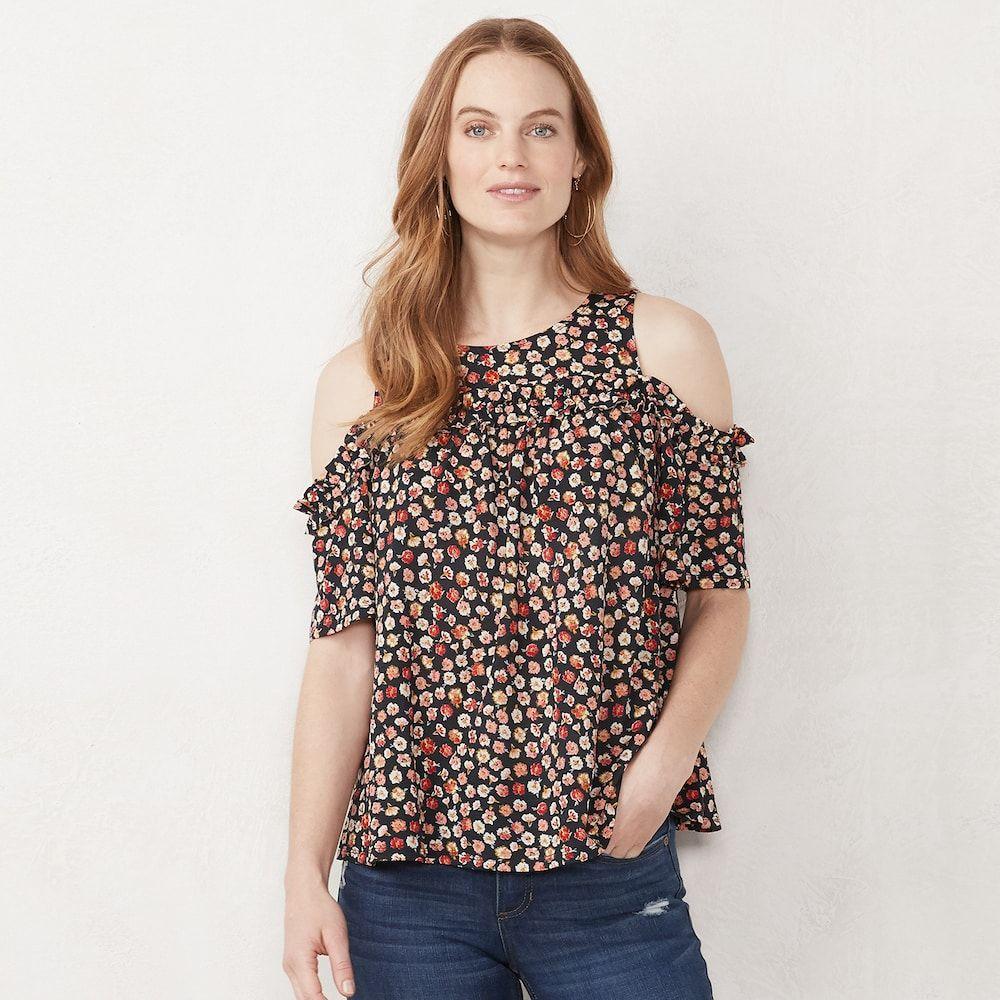 886c6f9c6ae6b0 Petite LC Lauren Conrad Ruffle Cold-Shoulder Top, Women's, Size: XL Petite,  Grey