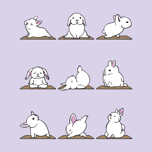 Funny Rabbits in Yoga Poses Easter Hooded Sweatshirt Bunny Yoga