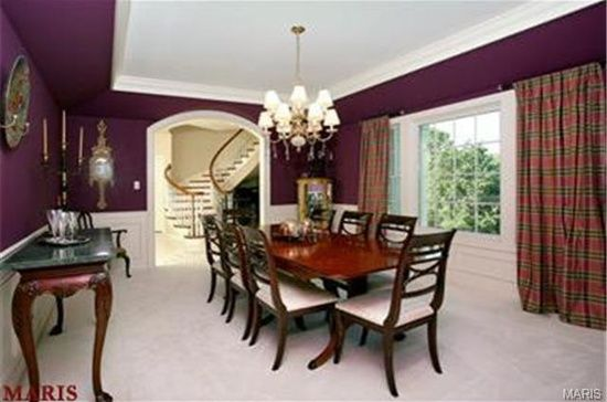 love everything about this dining room, the trey ceiling, the tartan