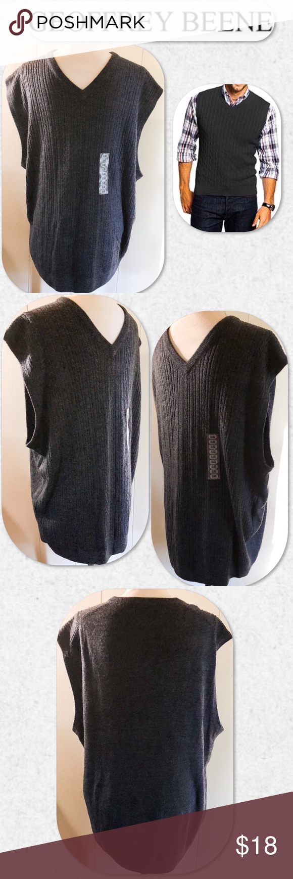 acb391bb1111b Geoffrey Beene Sleeveless V-Neck Sweater Vest NWT. Cable knit design on  front