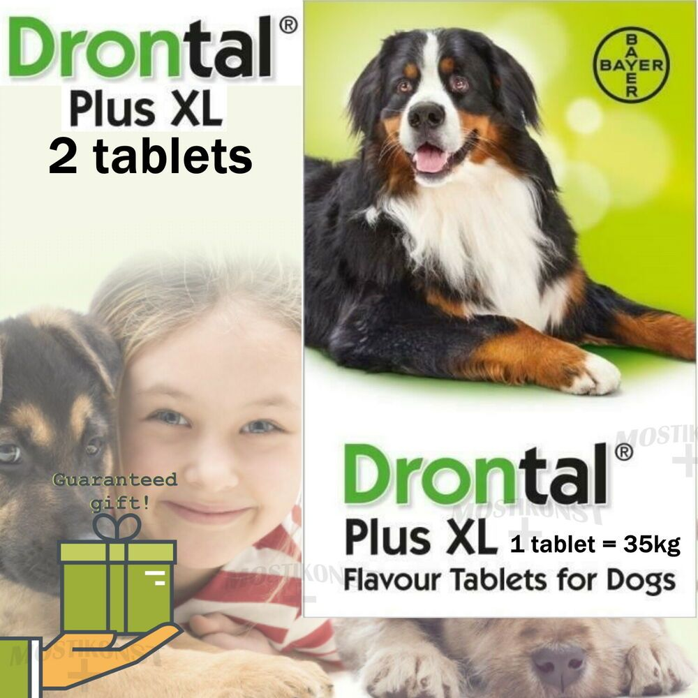 2 Tablets Bayer Drontal Plus Xl Wormer For Dogs 35kg 77lbs Made In Germany Bayer