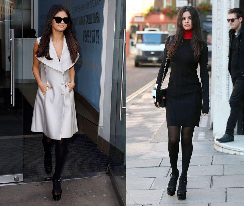 Selena Gomez com looks diferentes com meia-calça.