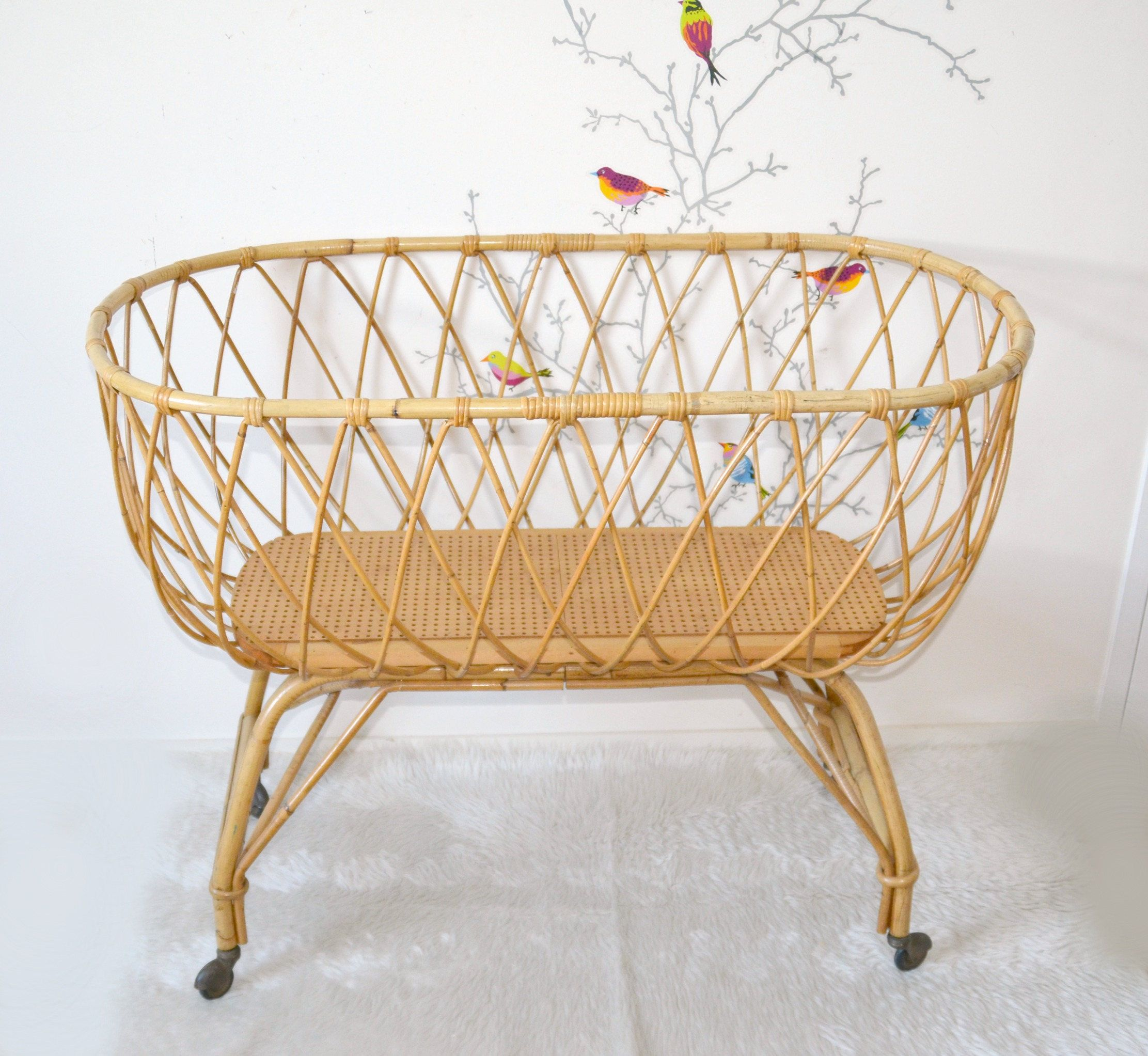 baby bed rattan vintage crib, Moses
