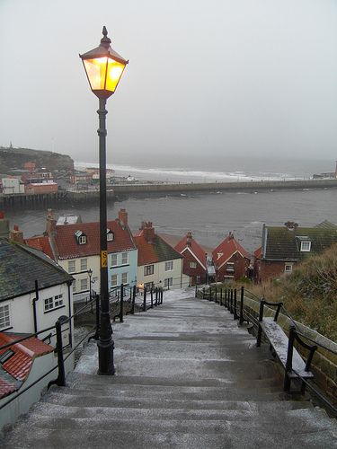 Whitby steps in winter, I have this hanging in my conservatory, the pleasure I have knowing I took the photo.