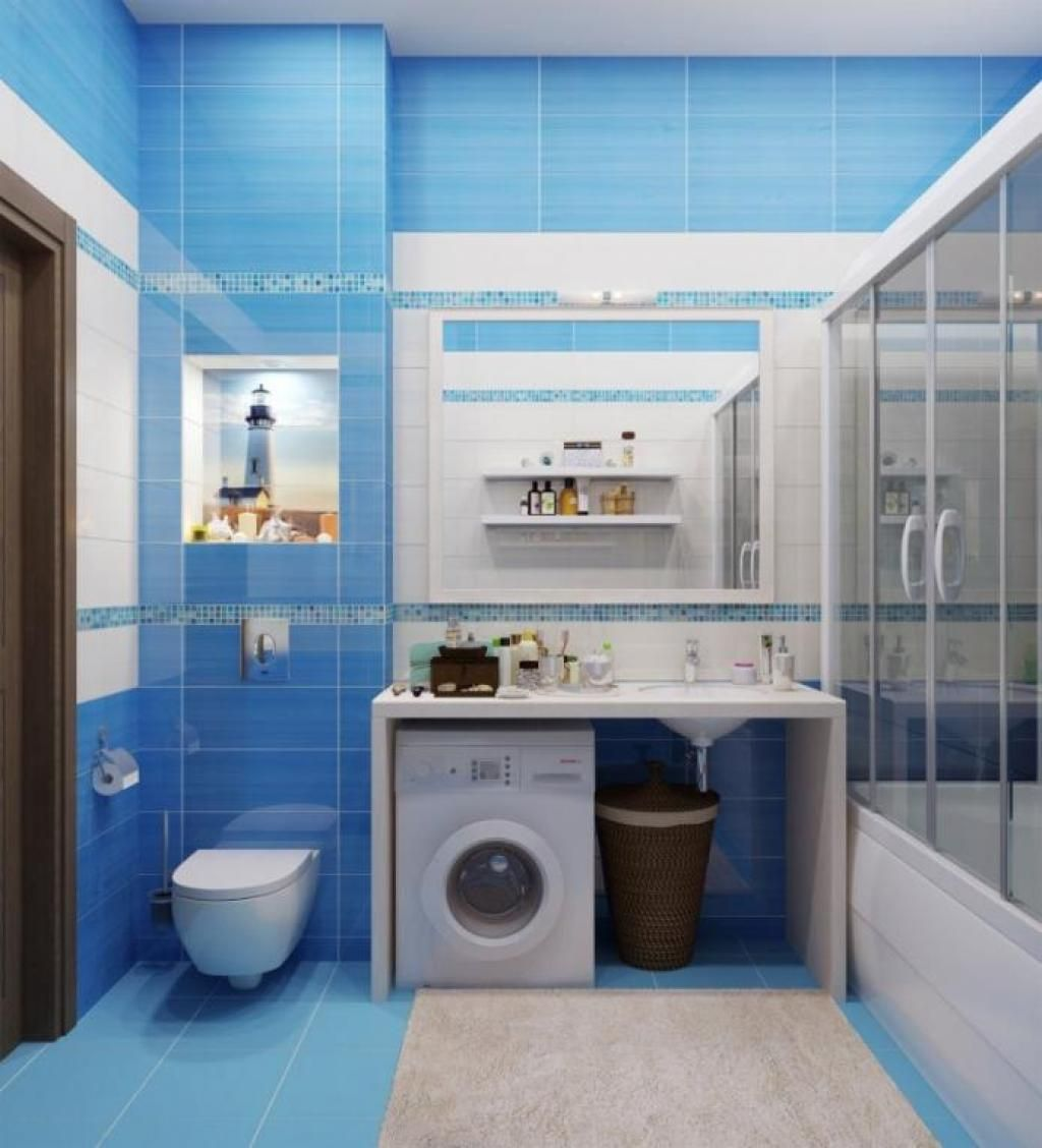 Fascinating Bathroom Design In Blue Tones With Bllue Tile Wall Plus Seat Toilet Corner Beside