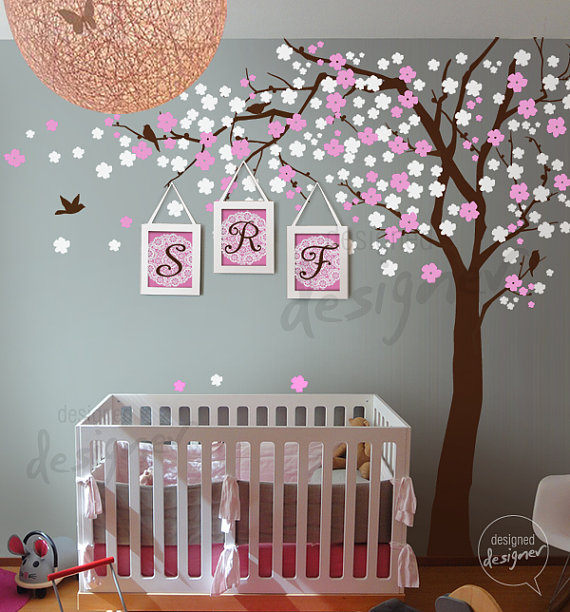 Tree Wall Decal Blossom Tree With Bird Wall By DesignedDESIGNER - Wall stickers for girlspink cherry blossom tree with birds wall stickers girls bedroom