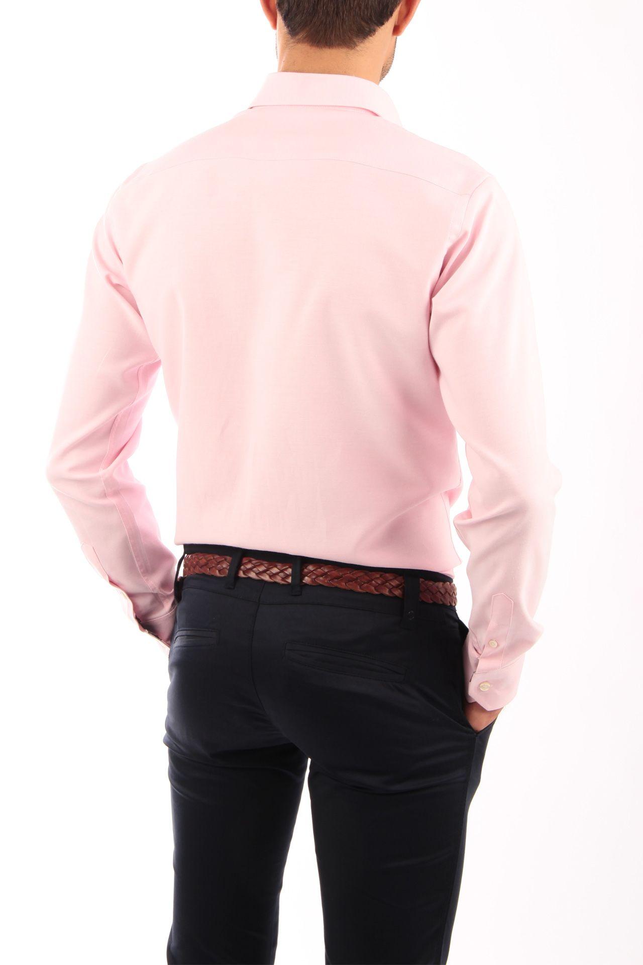 19f4c4c37e Camisa Oxford rosa con cinta escocesa azul. Detalles de cinta escocesa vista  de botones