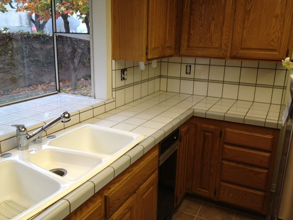 amusing cream kitchen cabinets | Print of Inexpensive Kitchen Countertop to Consider | Tile ...