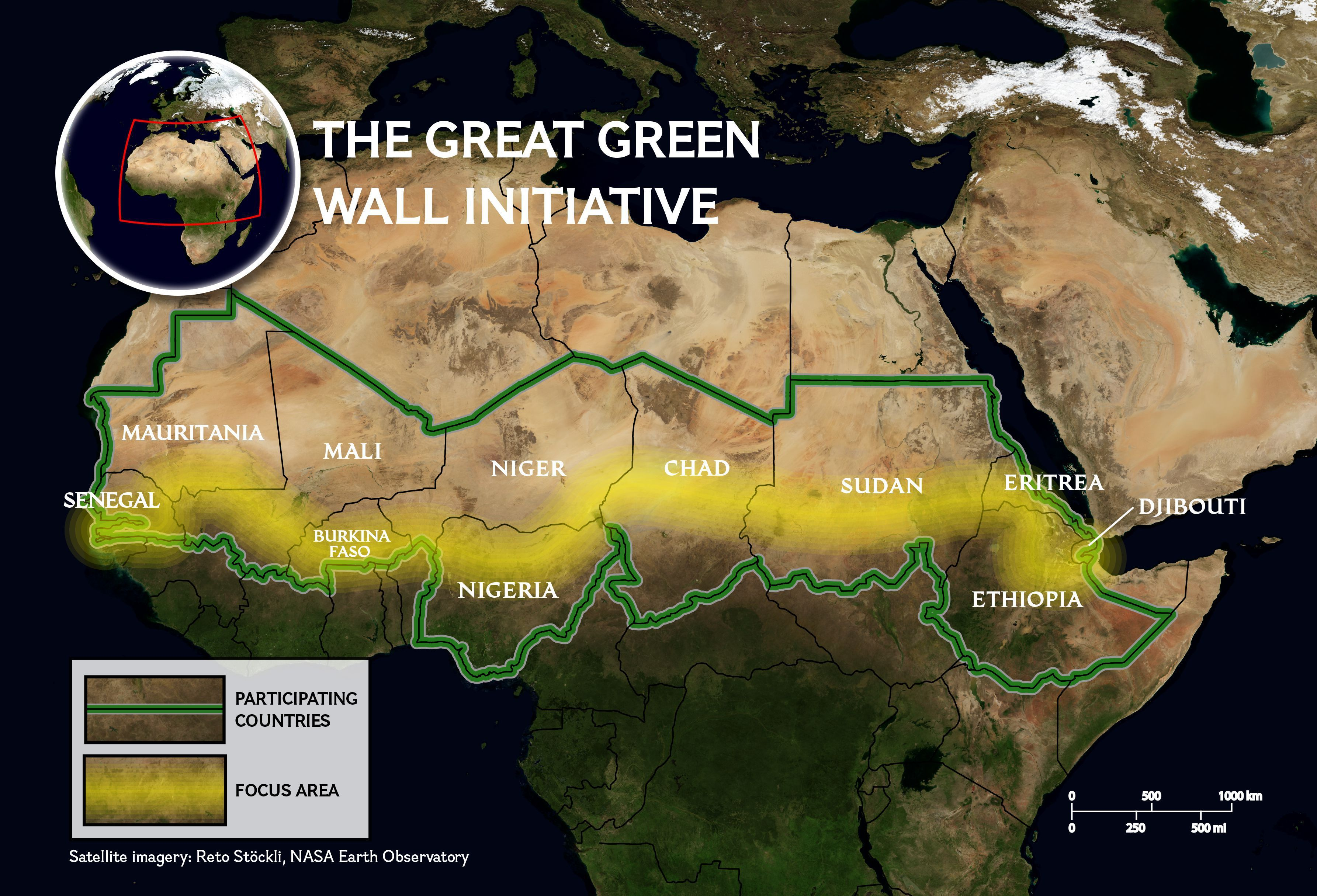 Africa Map Horn Of Africa%0A the Great Green Wall for Africa is a patchwork of land restoration projects  aimed to fight