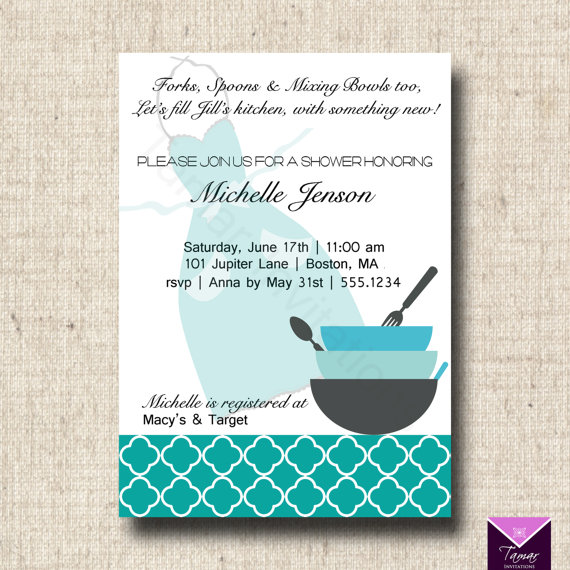 Kitchen Party Invitation Cards Design. Printable Bridal Shower Invitation  And Recipe By TamarInvitations 14 00