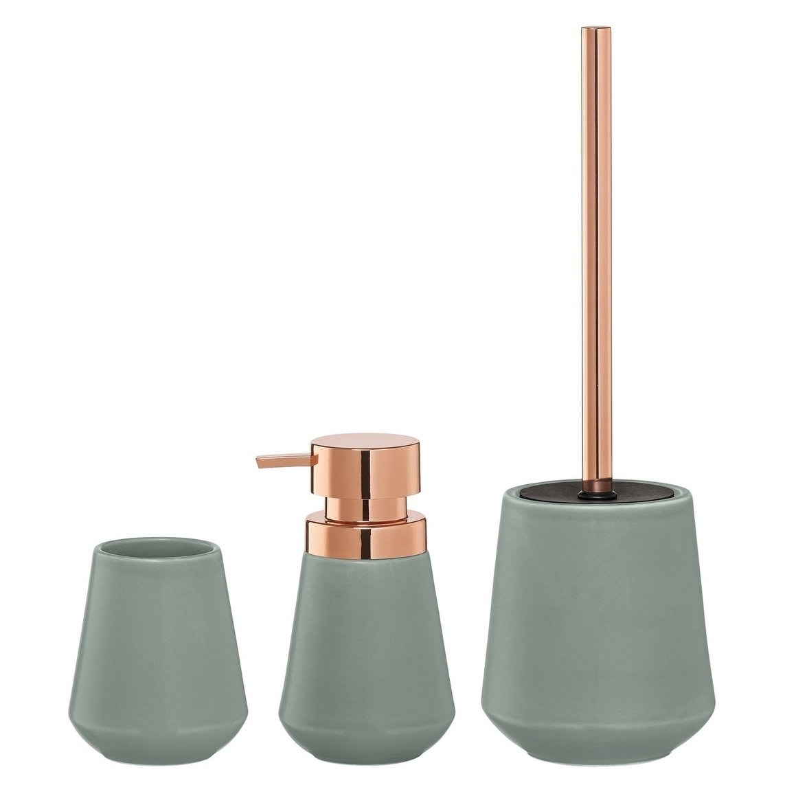 Sealskin 3 Piece Bathroom Accessories Set Conical Copper Green