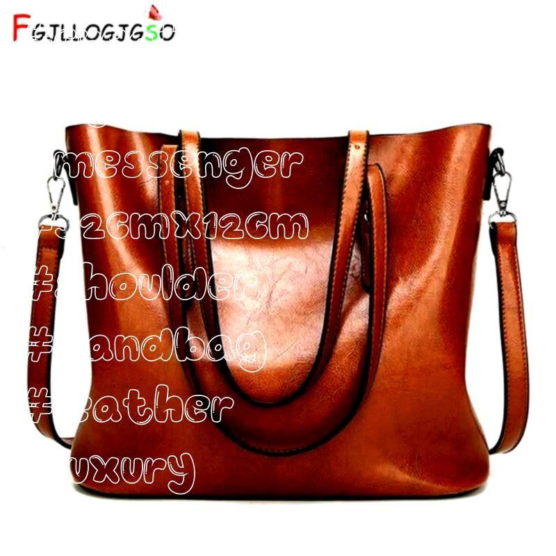 Women bag Oil wax Womens Leather Handbag Luxury shoulder bag Lady Hand Bags With Purse Women messenger bag Big Tote  Dark blue 32CMX12CM Source by CreativeDreamscape bags...