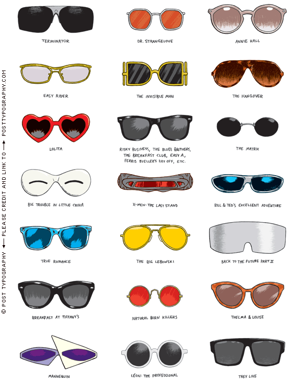 4921c272d78 NYT illustration of iconic movie sunglasses styles - illustration by Post  Typography