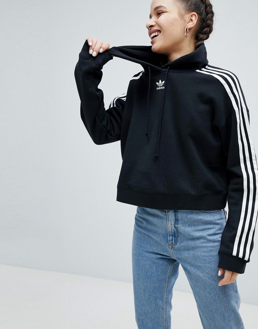 Adicolor Three Stripe Cropped Hoodie In Black - Black ...