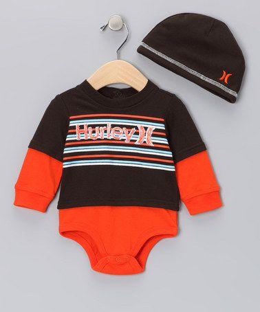 Brown   Orange Layered Bodysuit   Beanie by Hurley  b671919f381