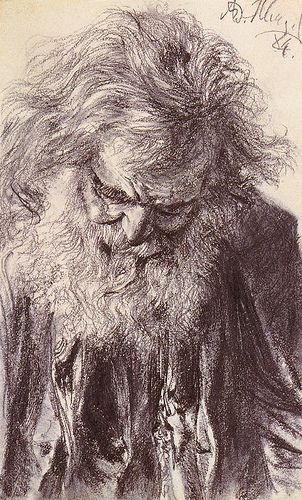 Adolf von Menzel (Polish/German, 1815-1905) Portrait of an Old Man (1884) Pencil on paper. 8 1/2 BY 5IN. Private collection.