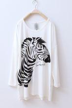 White Zebra Print Round Neck Long Sleeve T-shirt $28.25