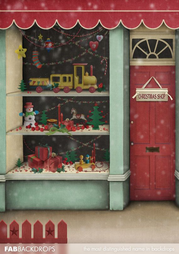 Christmas Themed Photography Backgrounds Santas Workshop Toy Shop Store Holiday Backdrop