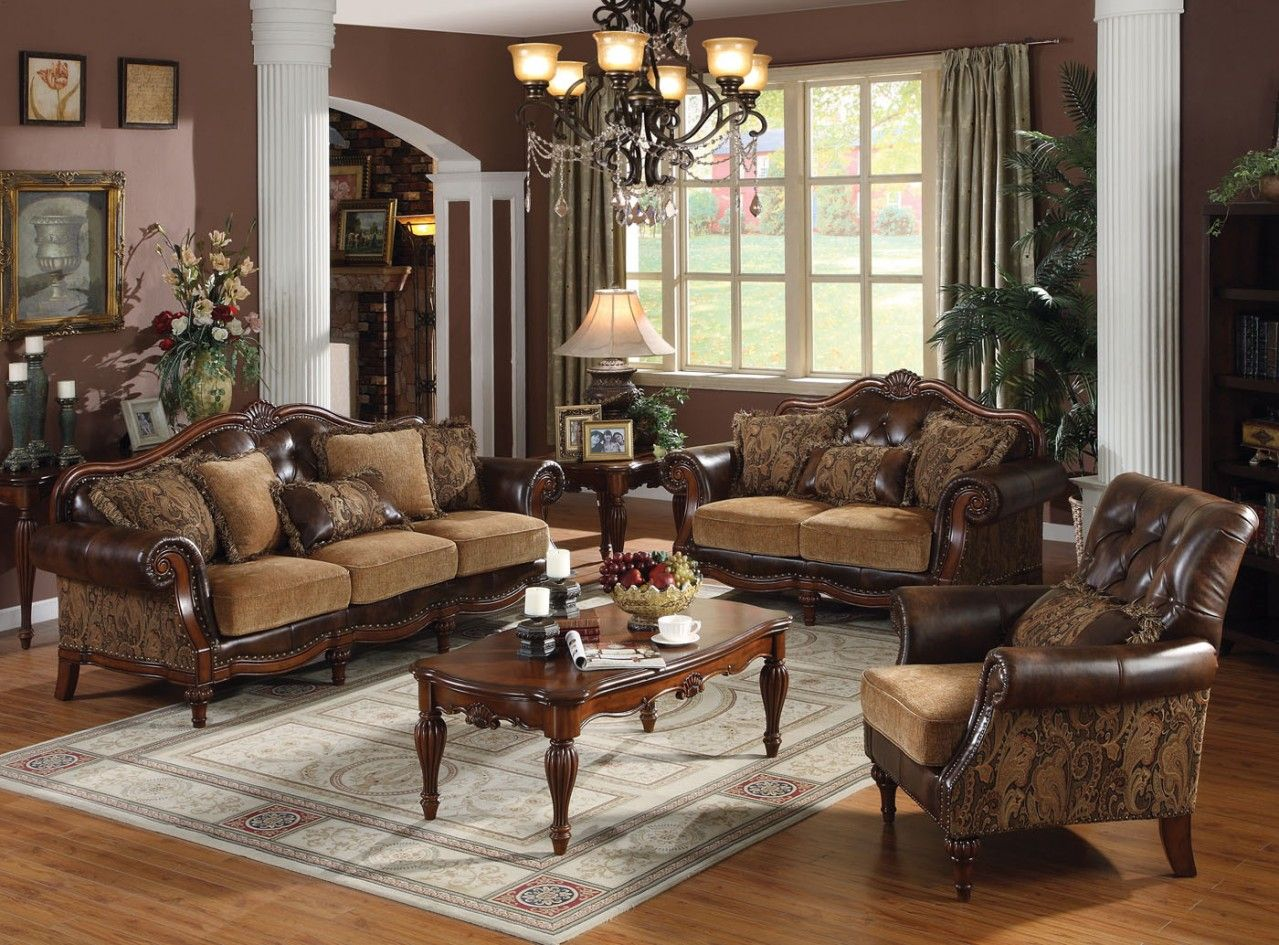 Traditional Living Room Sets | Acme Dreena Traditional Bonded Leather And  Chenille Living Room Set