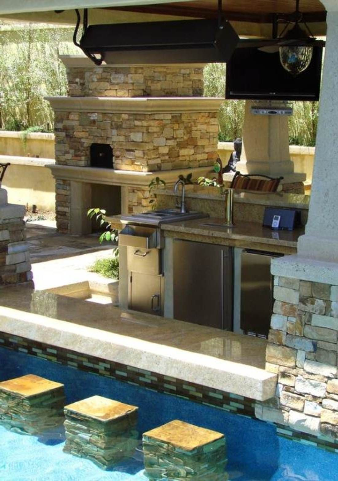 Pool Side Outdoor Kitchen Outdoor Living Pinterest Pools - Kitchen design with bar