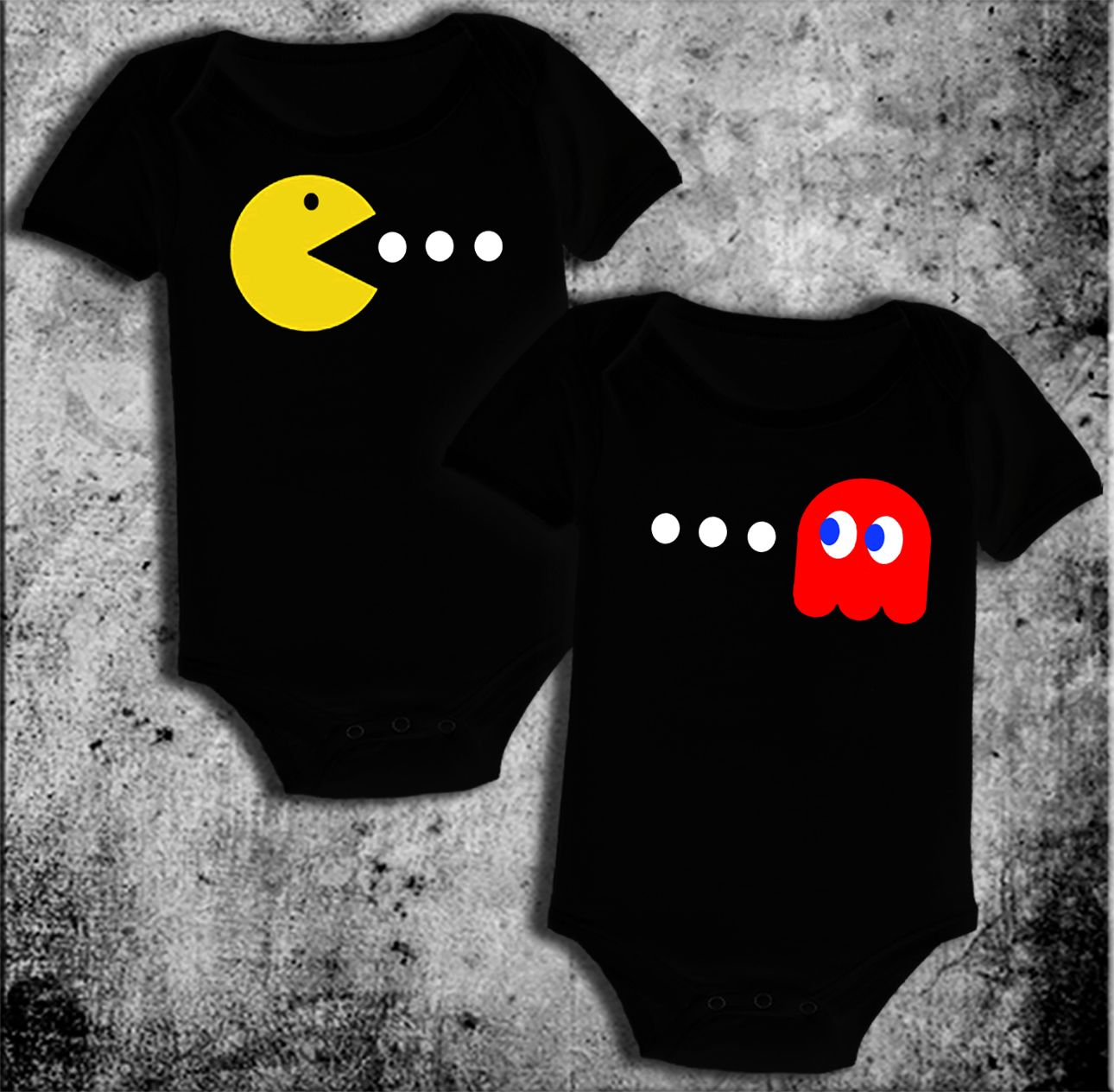 2087dca01 pacman-twins-baby-onesies-cute-funny-pacman-ghost-baby-one-piece-3 ...
