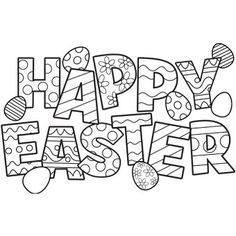 Happy Easter Eggs coloring pages | Reading | Pinterest | Happy ...