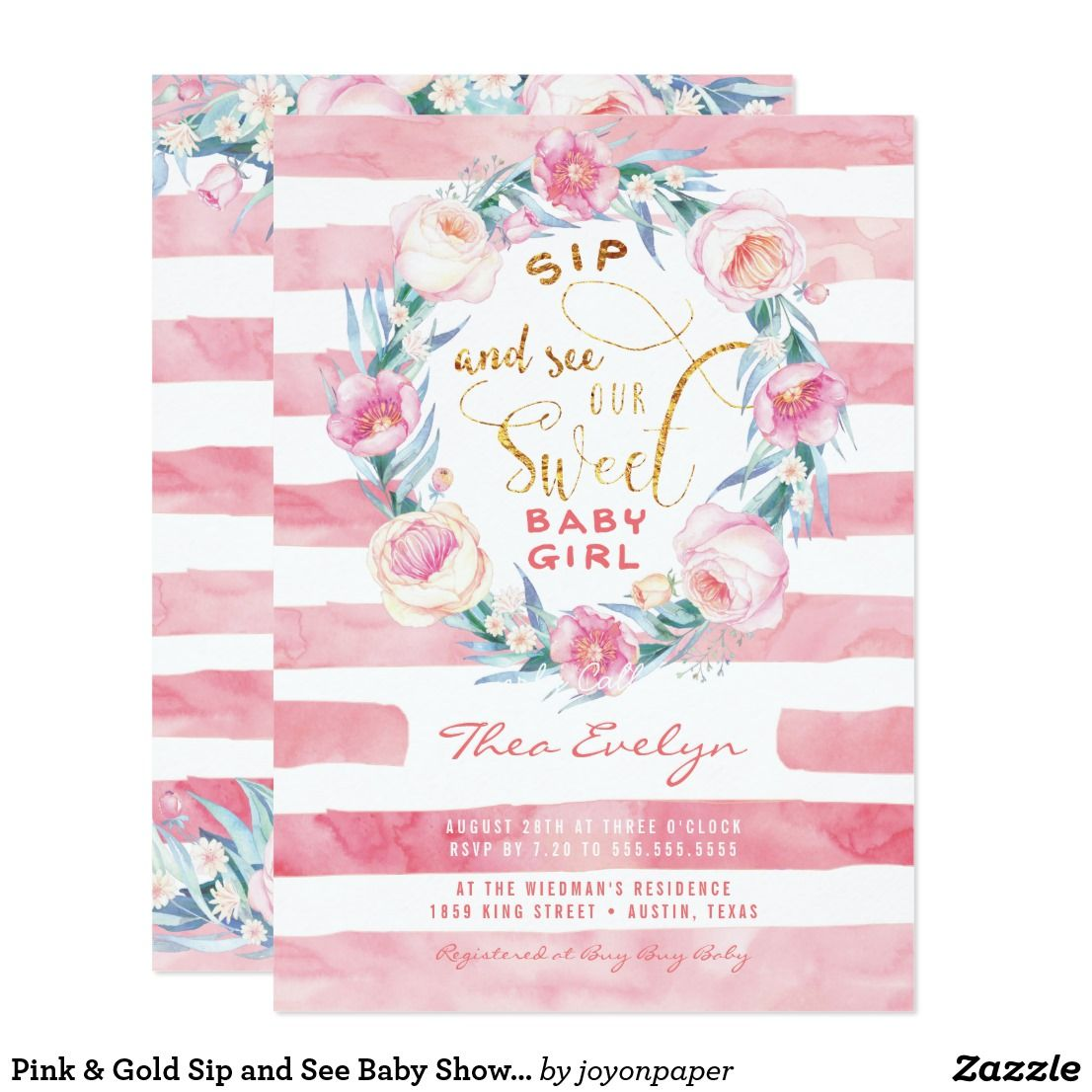 Pink & Gold Sip and See Baby Shower Invitations A Southern tradition ...