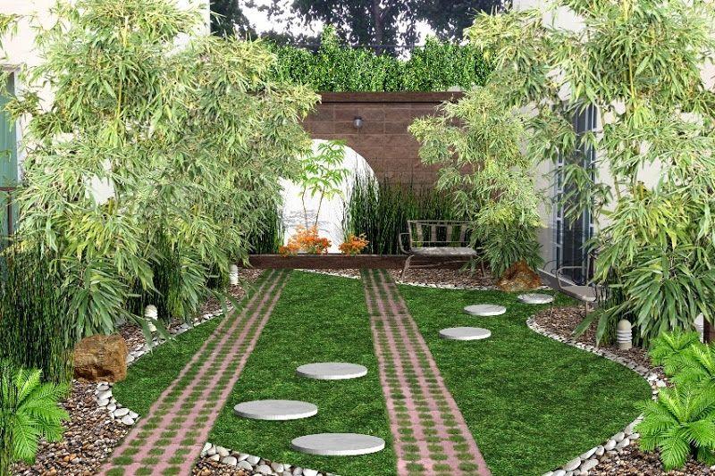 Jardin creativo para frente de casa con piedra bambu for Patios y jardines