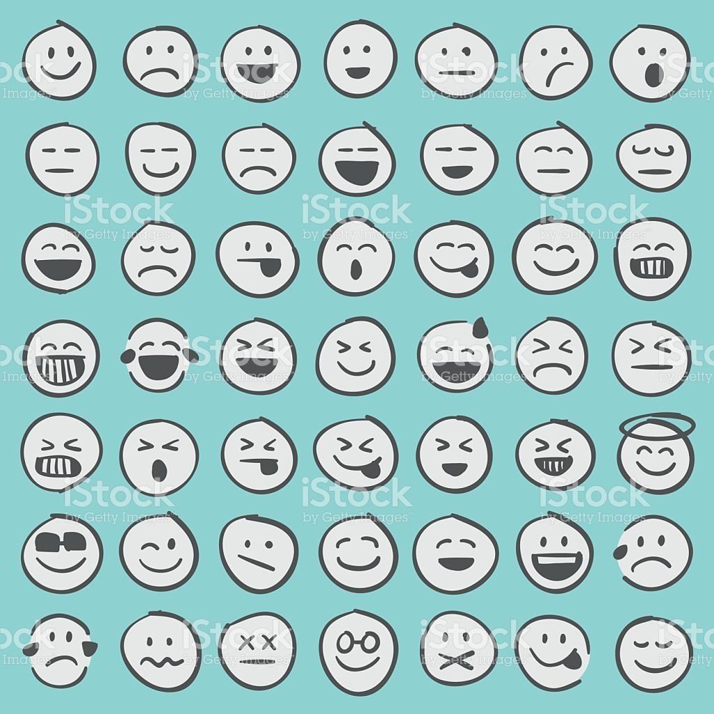 Professional set of 49 hand draw emoji icons ready to be used in any...