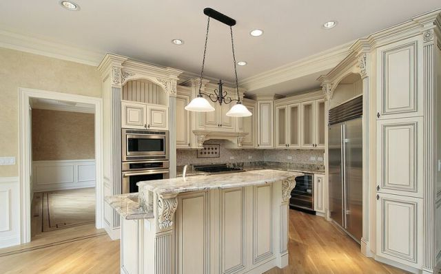 Antique White Kitchen Cabinets With Granite Countertops | Kitchen